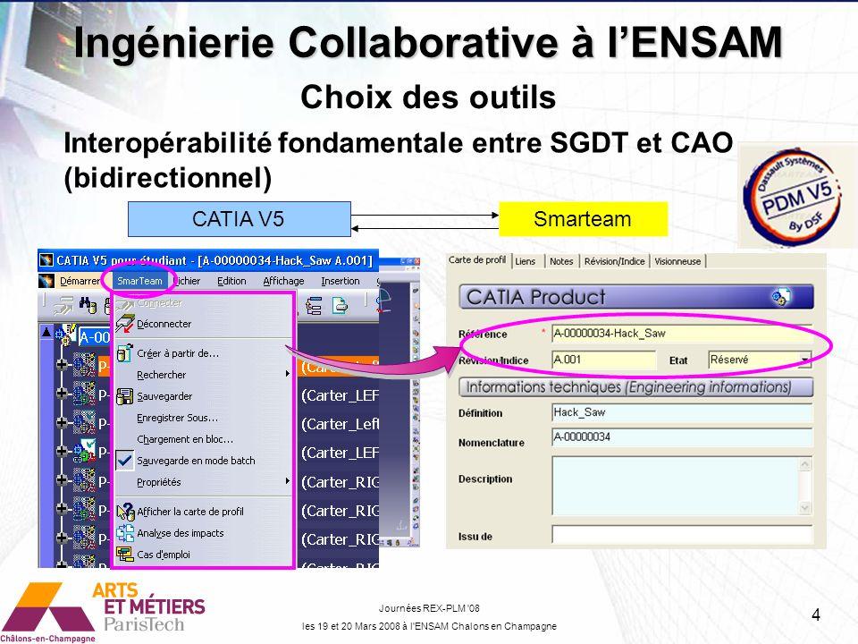 Ingénierie Collaborative à lENSAM Journées REX-PLM '08 les 19 et 20 Mars 2008 à l'ENSAM Chalons en Champagne Choix des outils Interopérabilité fondame