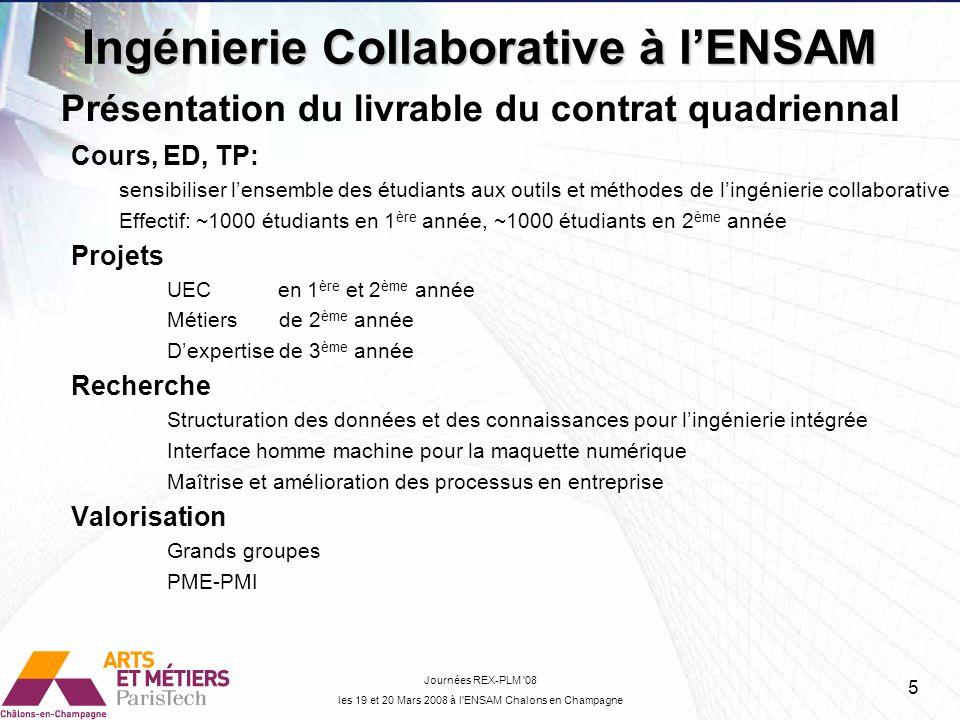 Cours, ED, TP: sensibiliser lensemble des étudiants aux outils et méthodes de lingénierie collaborative Effectif: ~1000 étudiants en 1 ère année, ~100