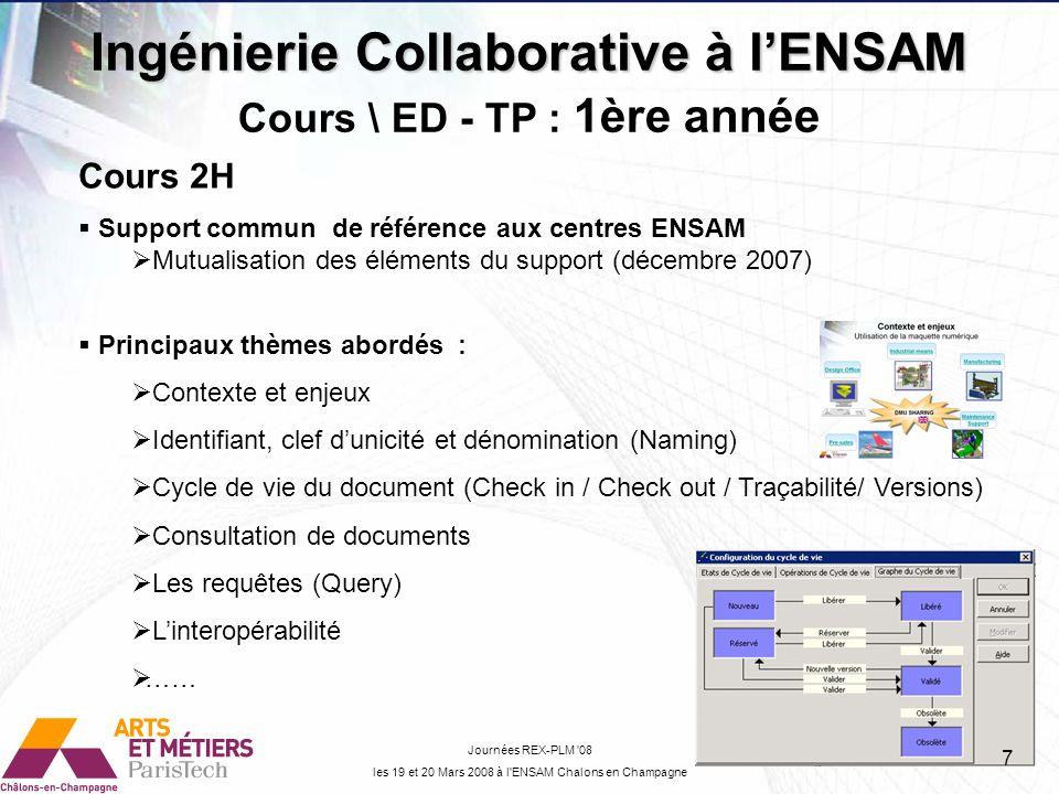 Ingénierie Collaborative à lENSAM Journées REX-PLM 08 les 19 et 20 Mars 2008 à l ENSAM Chalons en Champagne ED -TP 4H Mise en application des éléments vus en cours sur 2 scénarios différents Procédure : Découpage en opérations élémentaires Support pédagogique : Multimédia liens Hypertexte et vidéo (1 ère partie) Raisons essentiels : Autonomie pour les étudiants (Projets Capacité) Support à évolution rapide (Capture vidéo) Optimiser les clics des étudiants Mutualisation des éléments de support entre Châlons, Metz et Bordeaux Modèle de données PDMV5 Cours \ ED - TP : 1ère année 8