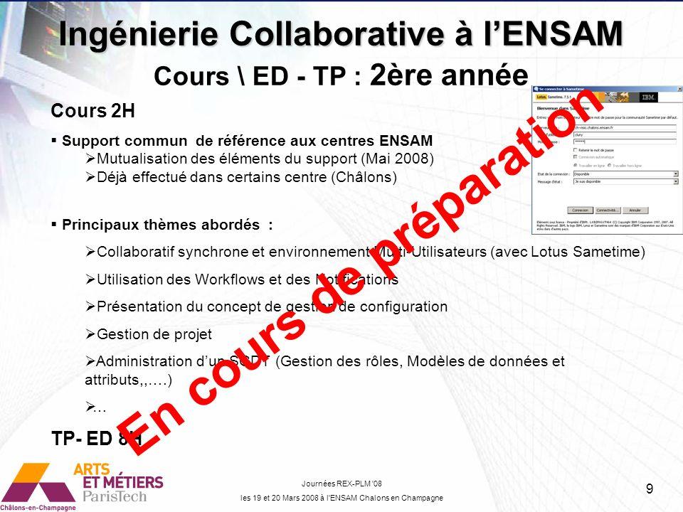 Ingénierie Collaborative à lENSAM Journées REX-PLM '08 les 19 et 20 Mars 2008 à l'ENSAM Chalons en Champagne Cours \ ED - TP : 2ère année Cours 2H Sup