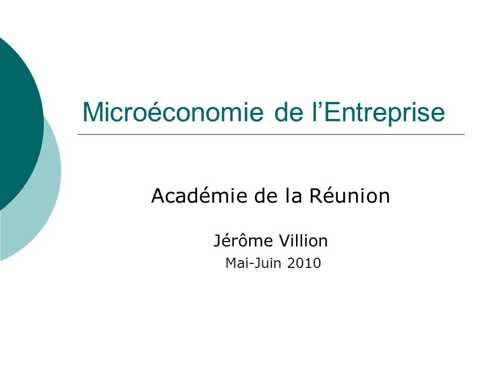 Microéconomie de lEntreprise Académie de la Réunion Jérôme Villion Mai-Juin 2010