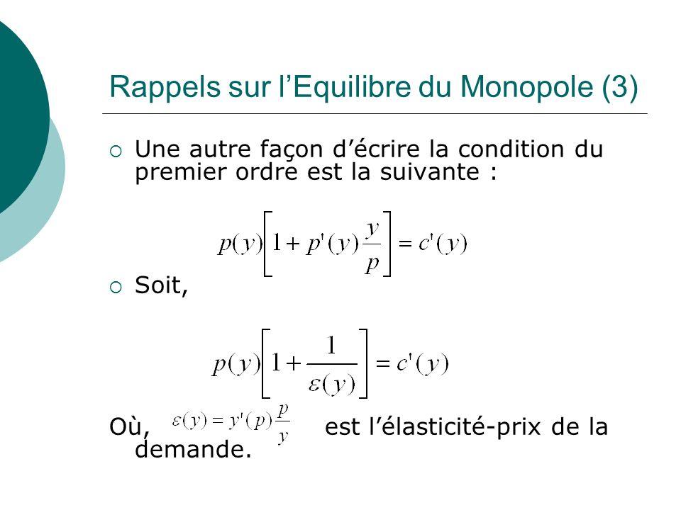Rappels sur lEquilibre du Monopole (3) Une autre façon décrire la condition du premier ordre est la suivante : Soit, Où, est lélasticité-prix de la de