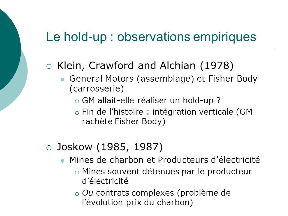 Le hold-up : observations empiriques Klein, Crawford and Alchian (1978) General Motors (assemblage) et Fisher Body (carrosserie) GM allait-elle réalis