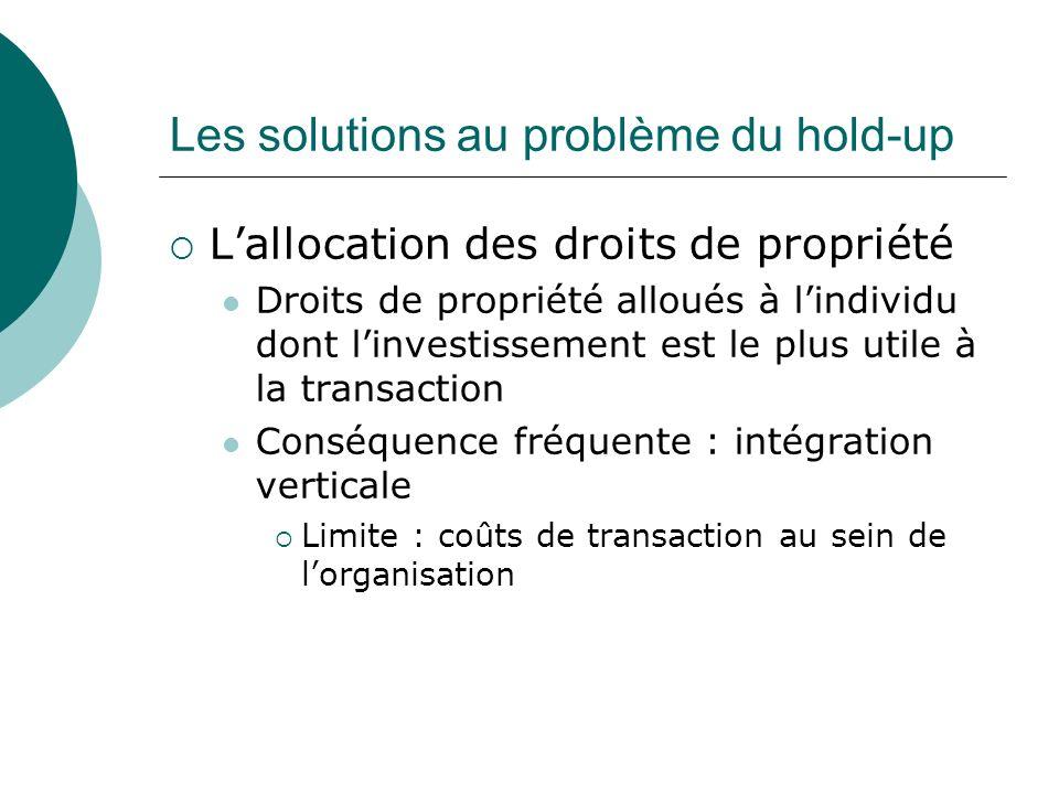 Les solutions au problème du hold-up Lallocation des droits de propriété Droits de propriété alloués à lindividu dont linvestissement est le plus util