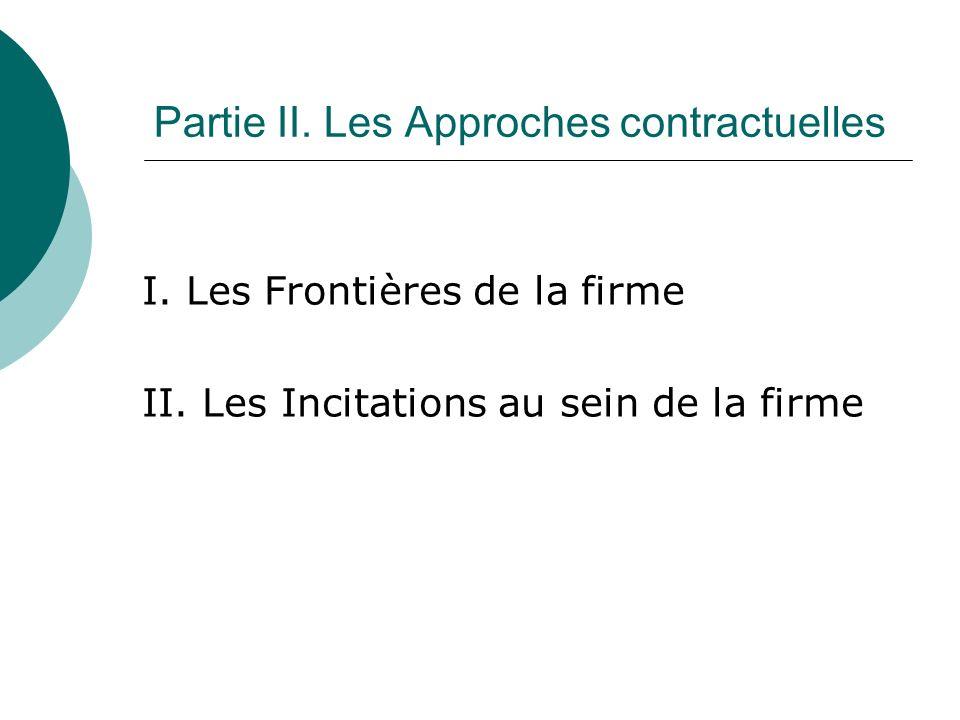 Partie II. Les Approches contractuelles I. Les Frontières de la firme II. Les Incitations au sein de la firme