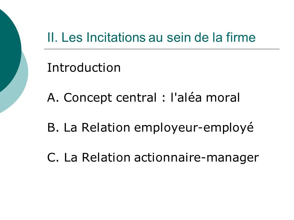 Introduction A. Concept central : l'aléa moral B. La Relation employeur-employé C. La Relation actionnaire-manager