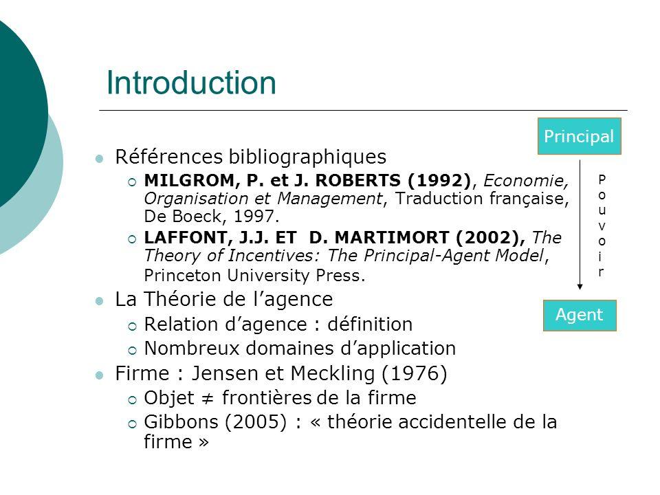 PouvoirPouvoir Principal Agent Introduction Références bibliographiques MILGROM, P. et J. ROBERTS (1992), Economie, Organisation et Management, Traduc