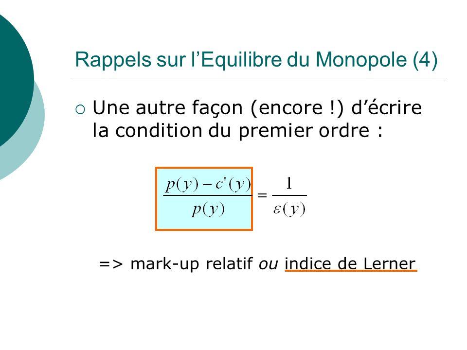 Une autre façon (encore !) décrire la condition du premier ordre : => mark-up relatif ou indice de Lerner Rappels sur lEquilibre du Monopole (4)