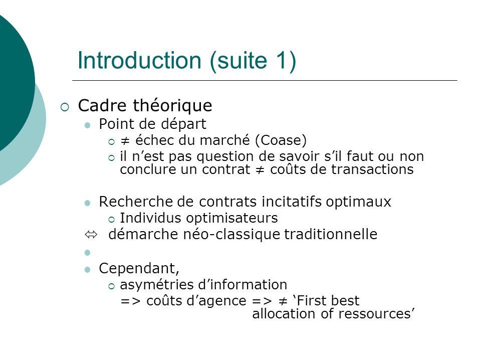 Introduction (suite 1) Cadre théorique Point de départ échec du marché (Coase) il nest pas question de savoir sil faut ou non conclure un contrat coût