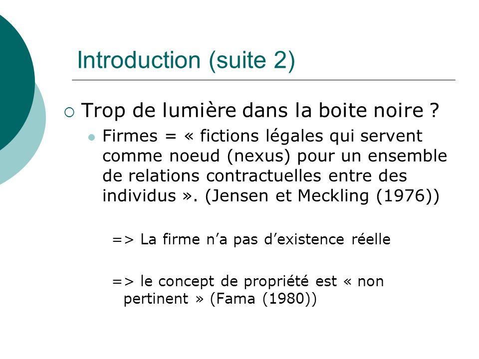 Introduction (suite 2) Trop de lumière dans la boite noire ? Firmes = « fictions légales qui servent comme noeud (nexus) pour un ensemble de relations