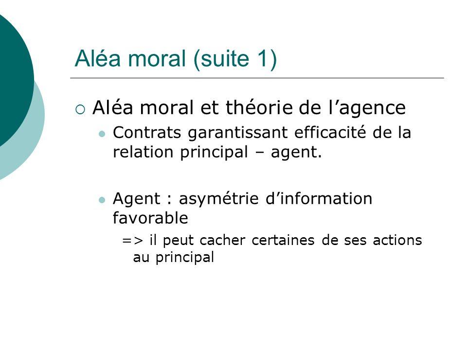 Aléa moral (suite 1) Aléa moral et théorie de lagence Contrats garantissant efficacité de la relation principal – agent. Agent : asymétrie dinformatio