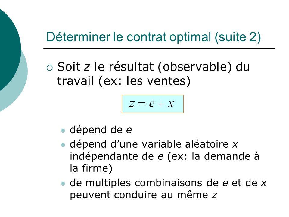 Soit z le résultat (observable) du travail (ex: les ventes) dépend de e dépend dune variable aléatoire x indépendante de e (ex: la demande à la firme)