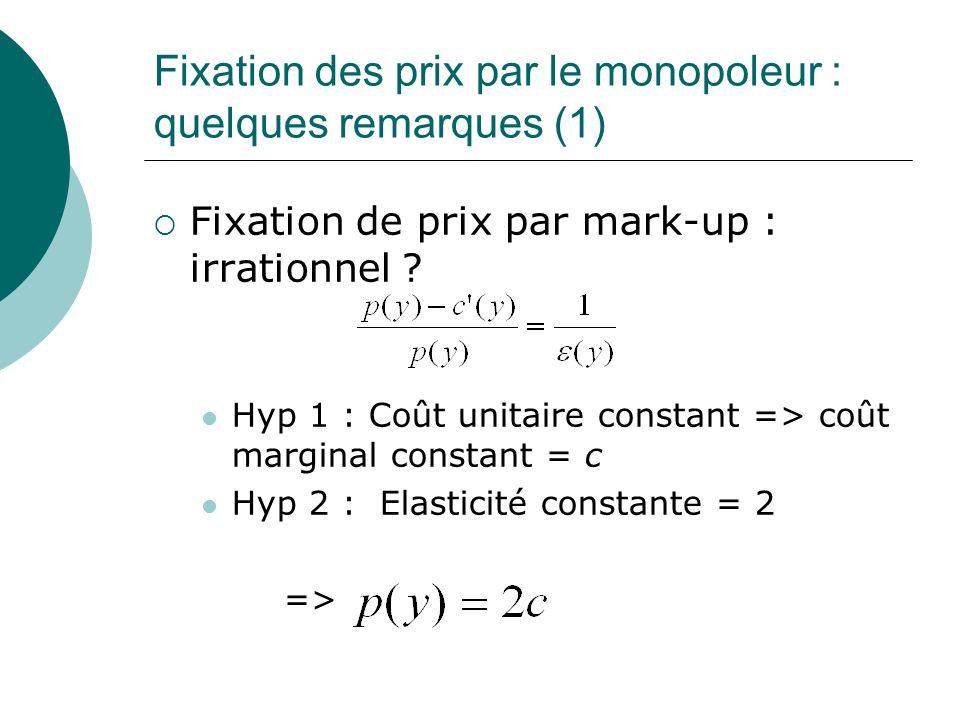 Fixation des prix par le monopoleur : quelques remarques (1) Fixation de prix par mark-up : irrationnel ? Hyp 1 : Coût unitaire constant => coût margi