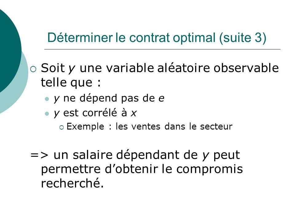 Déterminer le contrat optimal (suite 3) Soit y une variable aléatoire observable telle que : y ne dépend pas de e y est corrélé à x Exemple : les vent