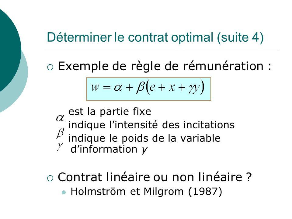 Déterminer le contrat optimal (suite 4) Exemple de règle de rémunération : est la partie fixe indique lintensité des incitations indique le poids de l