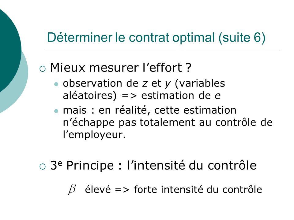 Déterminer le contrat optimal (suite 6) Mieux mesurer leffort ? observation de z et y (variables aléatoires) => estimation de e mais : en réalité, cet