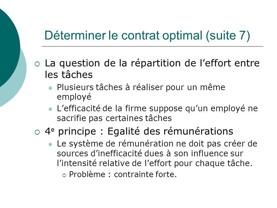 Déterminer le contrat optimal (suite 7) La question de la répartition de leffort entre les tâches Plusieurs tâches à réaliser pour un même employé Lef
