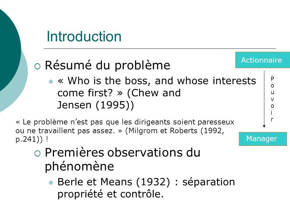 Introduction Résumé du problème « Who is the boss, and whose interests come first? » (Chew and Jensen (1995)) Premières observations du phénomène Berl