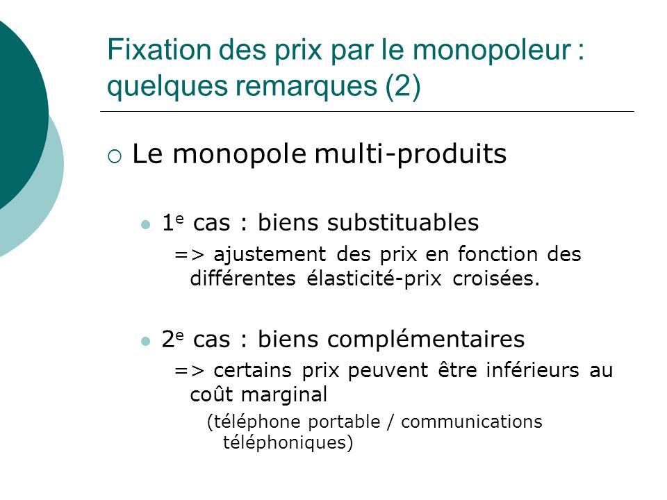Fixation des prix par le monopoleur : quelques remarques (2) Le monopole multi-produits 1 e cas : biens substituables => ajustement des prix en foncti