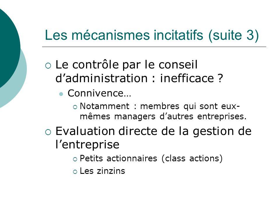 Les mécanismes incitatifs (suite 3) Le contrôle par le conseil dadministration : inefficace ? Connivence… Notamment : membres qui sont eux- mêmes mana
