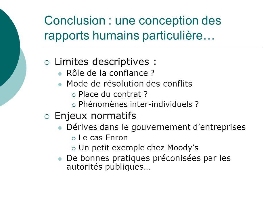 Conclusion : une conception des rapports humains particulière… Limites descriptives : Rôle de la confiance ? Mode de résolution des conflits Place du
