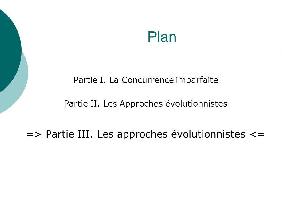 Plan Partie I. La Concurrence imparfaite Partie II. Les Approches évolutionnistes => Partie III. Les approches évolutionnistes <=