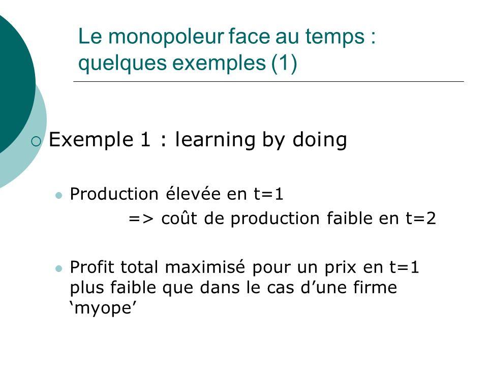 Le monopoleur face au temps : quelques exemples (1) Exemple 1 : learning by doing Production élevée en t=1 => coût de production faible en t=2 Profit