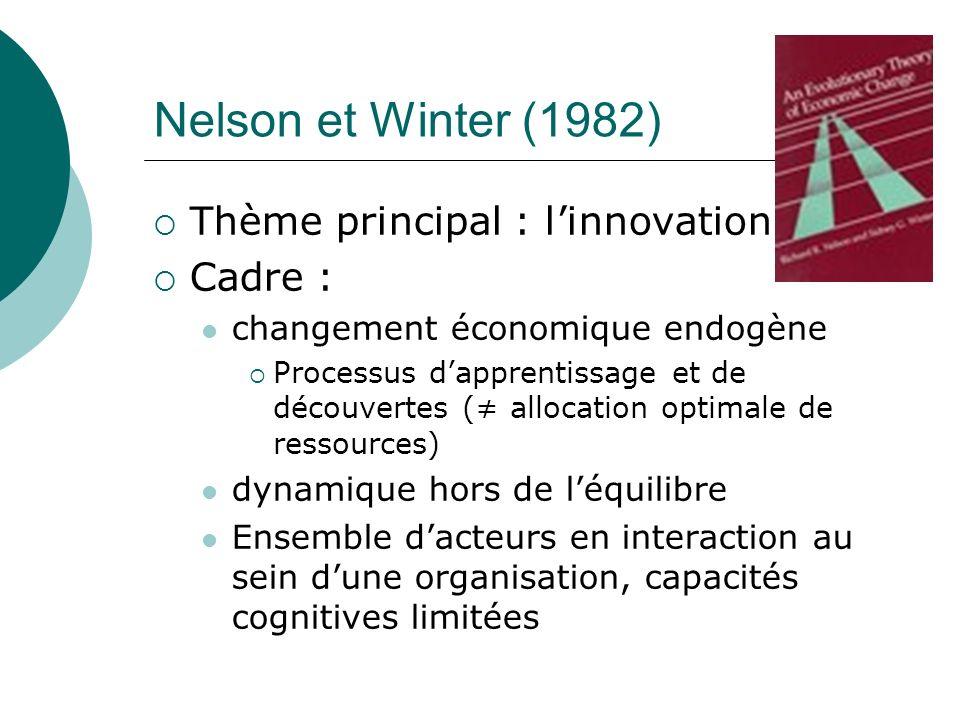 Nelson et Winter (1982) Thème principal : linnovation Cadre : changement économique endogène Processus dapprentissage et de découvertes ( allocation o
