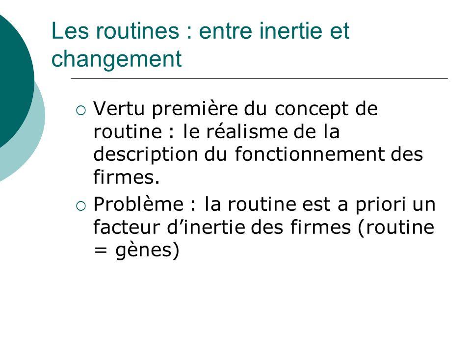 Les routines : entre inertie et changement Vertu première du concept de routine : le réalisme de la description du fonctionnement des firmes. Problème