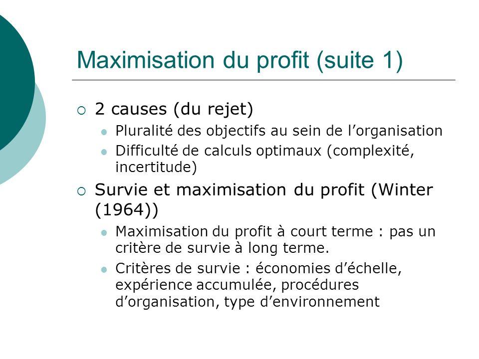 Maximisation du profit (suite 1) 2 causes (du rejet) Pluralité des objectifs au sein de lorganisation Difficulté de calculs optimaux (complexité, ince