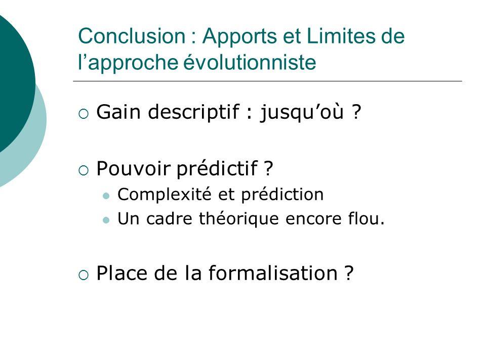 Conclusion : Apports et Limites de lapproche évolutionniste Gain descriptif : jusquoù ? Pouvoir prédictif ? Complexité et prédiction Un cadre théoriqu