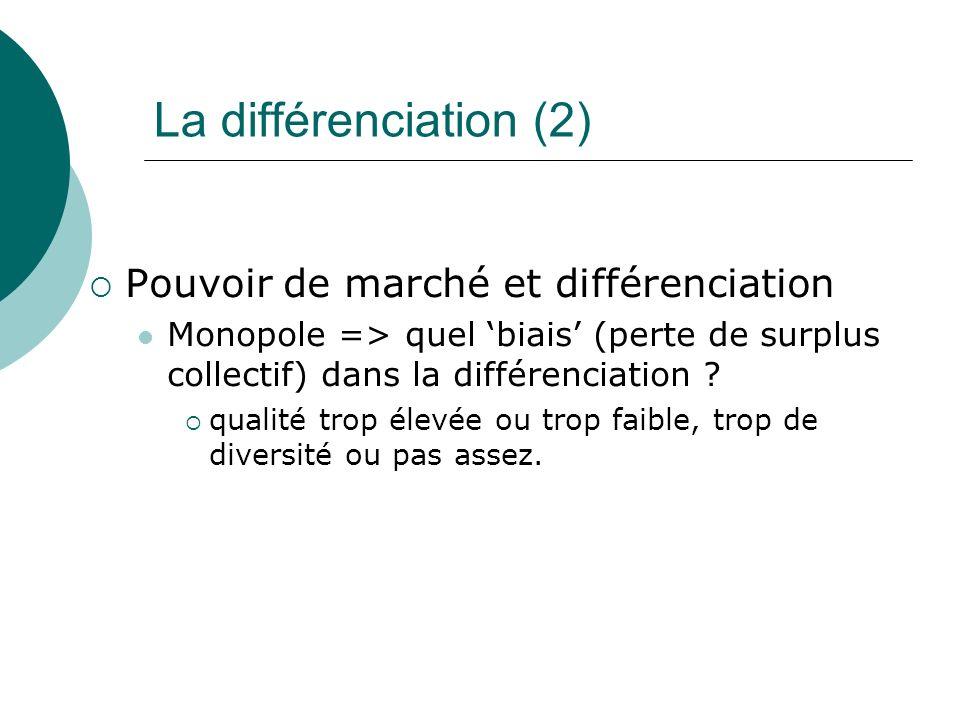 La différenciation (2) Pouvoir de marché et différenciation Monopole => quel biais (perte de surplus collectif) dans la différenciation ? qualité trop