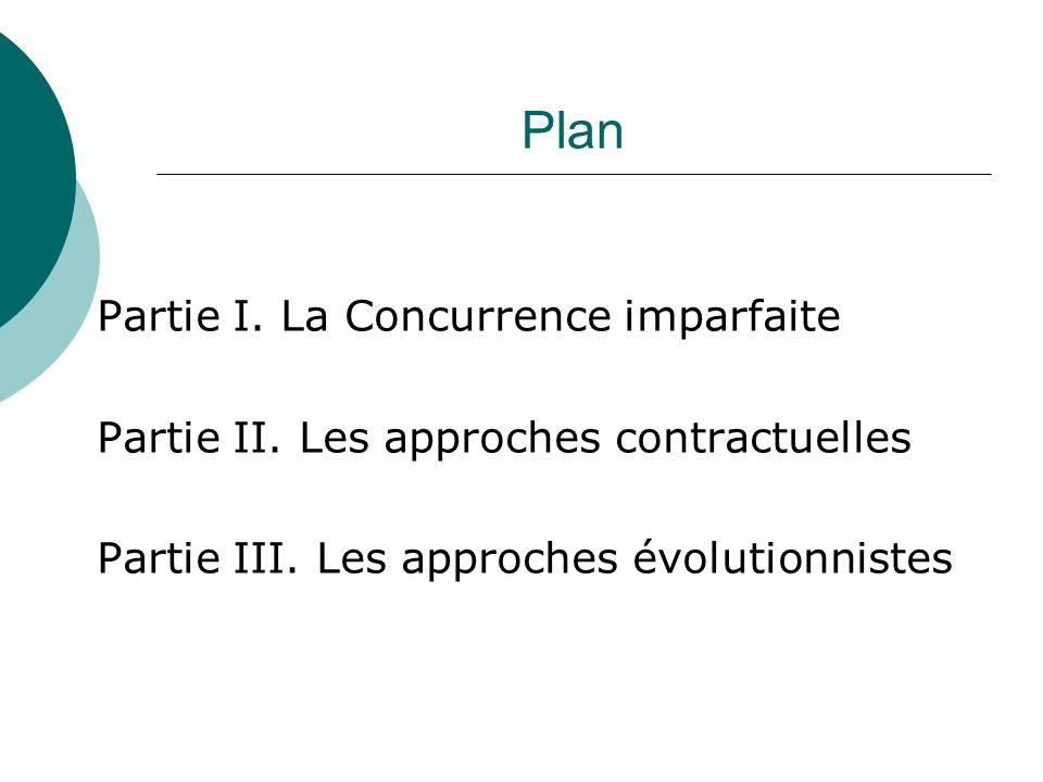 Plan Partie I. La Concurrence imparfaite Partie II. Les approches contractuelles Partie III. Les approches évolutionnistes