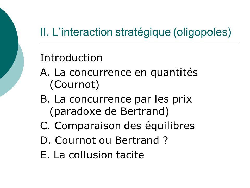 II. Linteraction stratégique (oligopoles) Introduction A. La concurrence en quantités (Cournot) B. La concurrence par les prix (paradoxe de Bertrand)