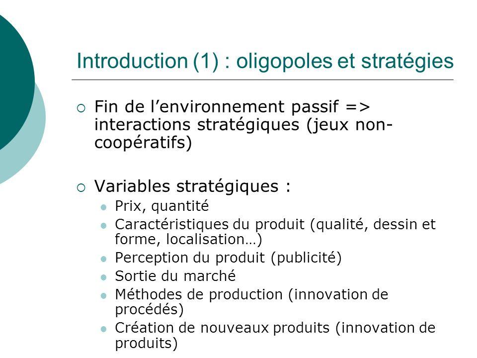 Introduction (1) : oligopoles et stratégies Fin de lenvironnement passif => interactions stratégiques (jeux non- coopératifs) Variables stratégiques :