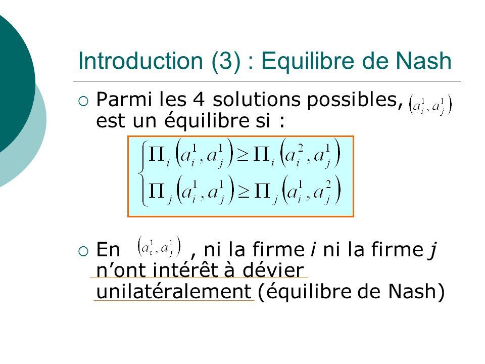 Introduction (3) : Equilibre de Nash Parmi les 4 solutions possibles, est un équilibre si : En, ni la firme i ni la firme j nont intérêt à dévier unil