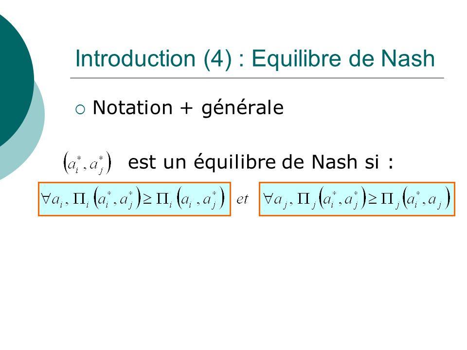 Introduction (4) : Equilibre de Nash Notation + générale est un équilibre de Nash si :