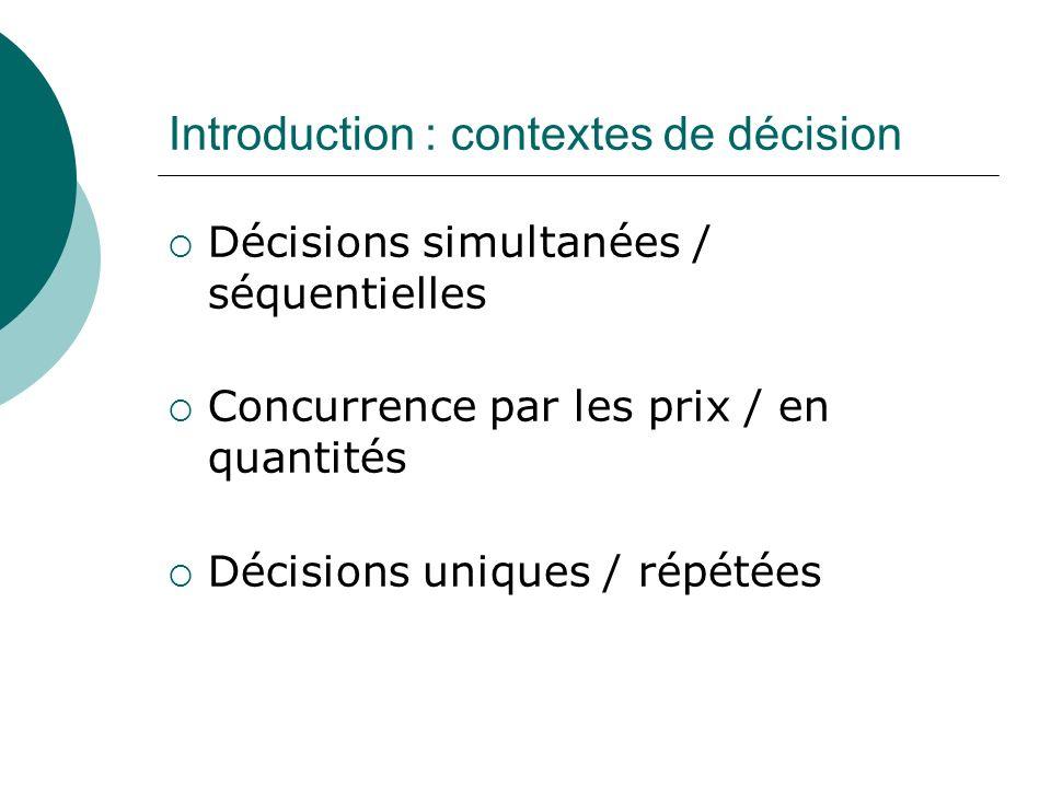 Introduction : contextes de décision Décisions simultanées / séquentielles Concurrence par les prix / en quantités Décisions uniques / répétées