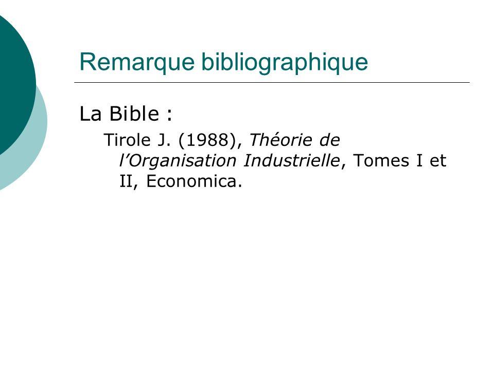 Remarque bibliographique La Bible : Tirole J. (1988), Théorie de lOrganisation Industrielle, Tomes I et II, Economica.