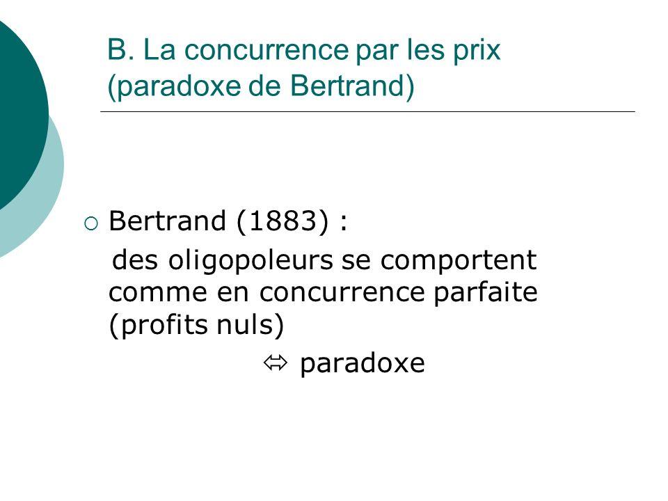 B. La concurrence par les prix (paradoxe de Bertrand) Bertrand (1883) : des oligopoleurs se comportent comme en concurrence parfaite (profits nuls) pa