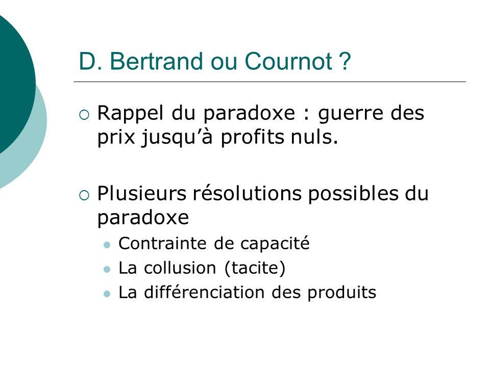 D. Bertrand ou Cournot ? Rappel du paradoxe : guerre des prix jusquà profits nuls. Plusieurs résolutions possibles du paradoxe Contrainte de capacité