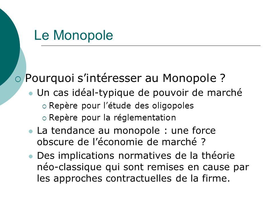 Le Monopole Pourquoi sintéresser au Monopole ? Un cas idéal-typique de pouvoir de marché Repère pour létude des oligopoles Repère pour la réglementati