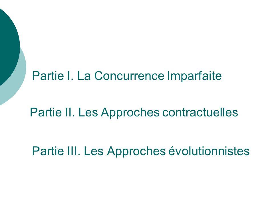 Partie III. Les Approches évolutionnistes Partie I. La Concurrence Imparfaite Partie II. Les Approches contractuelles