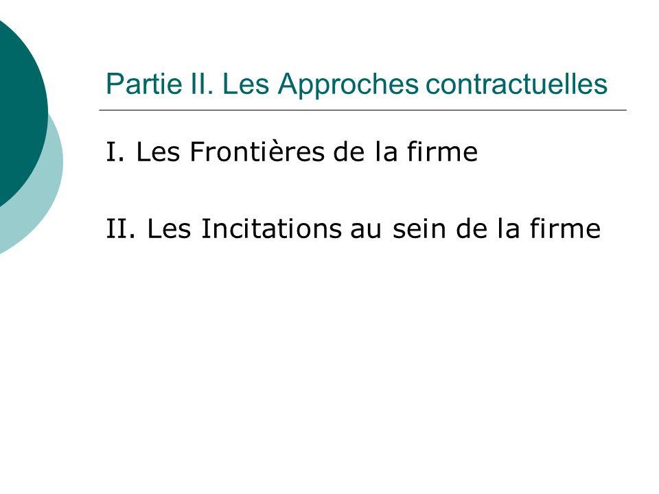 I. Les Frontières de la firme II. Les Incitations au sein de la firme