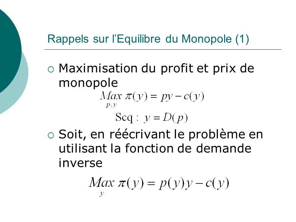 Rappels sur lEquilibre du Monopole (1) Maximisation du profit et prix de monopole Soit, en réécrivant le problème en utilisant la fonction de demande