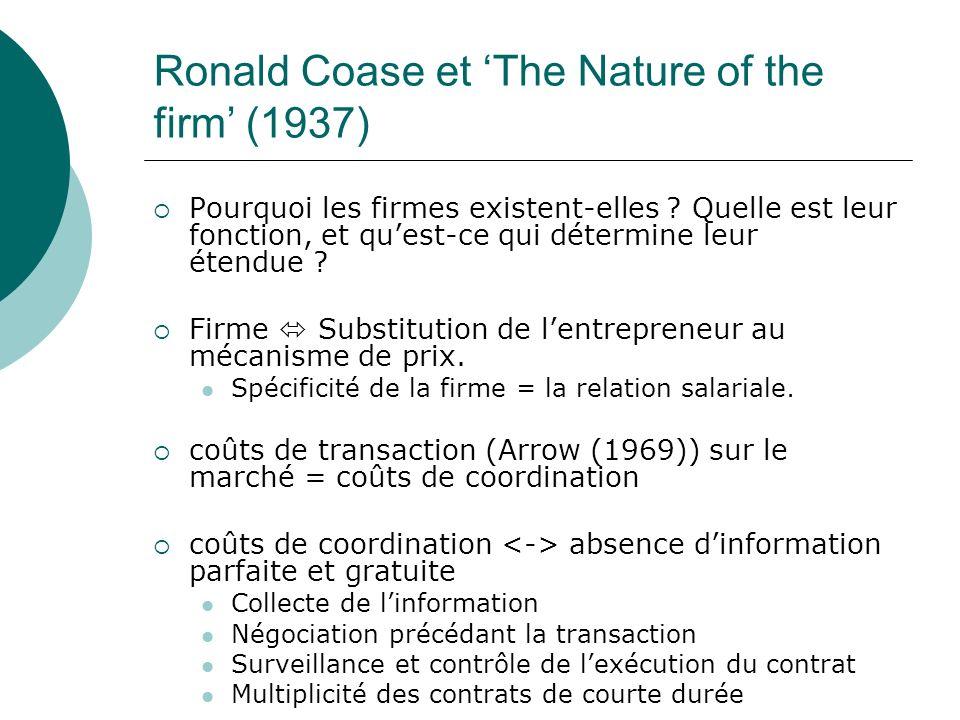 Ronald Coase et The Nature of the firm (1937) Pourquoi les firmes existent-elles ? Quelle est leur fonction, et quest-ce qui détermine leur étendue ?