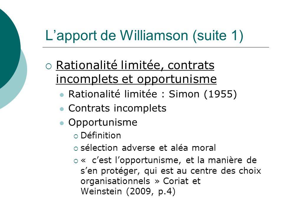 Lapport de Williamson (suite 1) Rationalité limitée, contrats incomplets et opportunisme Rationalité limitée : Simon (1955) Contrats incomplets Opport