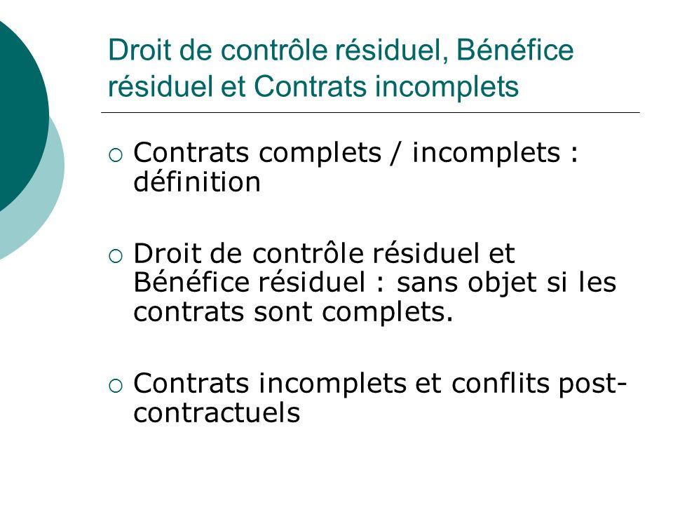 Droit de contrôle résiduel, Bénéfice résiduel et Contrats incomplets Contrats complets / incomplets : définition Droit de contrôle résiduel et Bénéfic