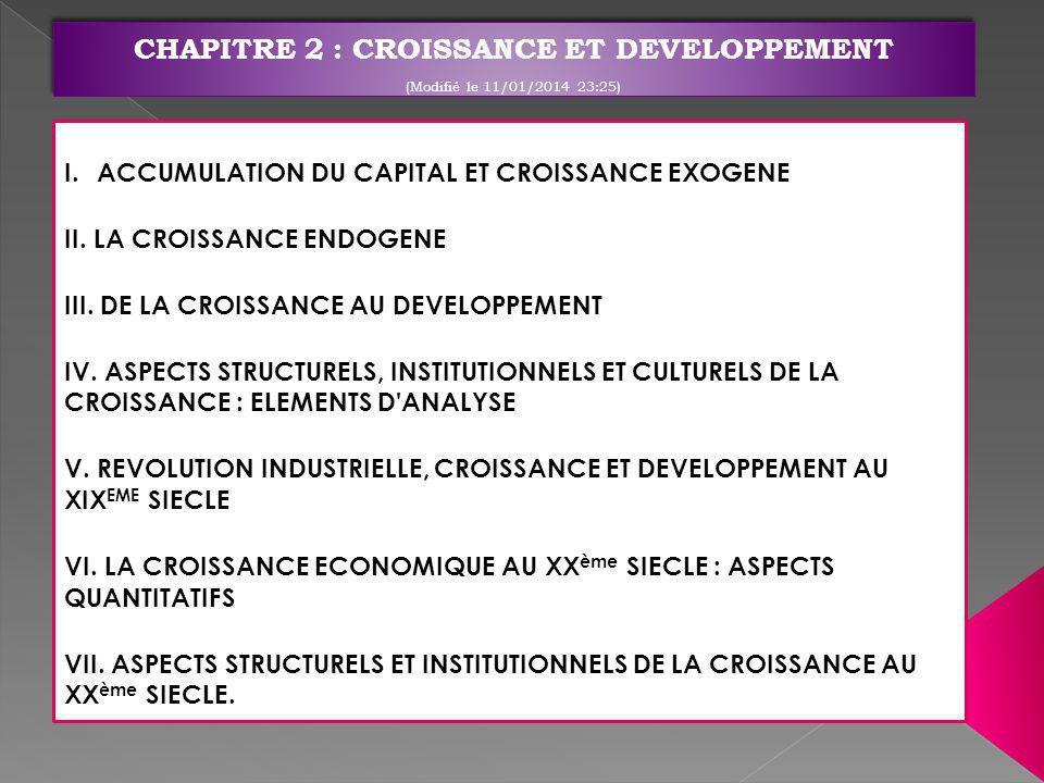 I.ACCUMULATION DU CAPITAL ET CROISSANCE EXOGENE II. LA CROISSANCE ENDOGENE III. DE LA CROISSANCE AU DEVELOPPEMENT IV. ASPECTS STRUCTURELS, INSTITUTION