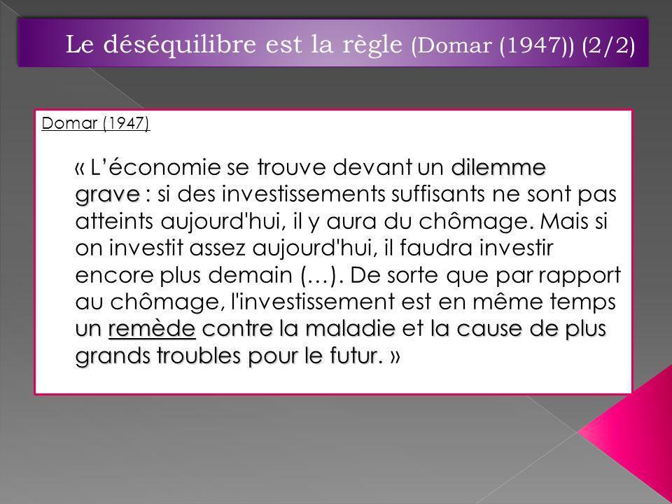 Domar (1947) dilemme grave un remède contre la maladiela cause de plus grands troubles pour le futur « Léconomie se trouve devant un dilemme grave : s